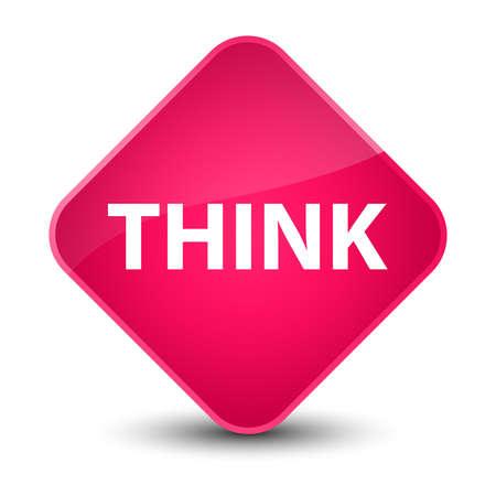 Think isolated on elegant pink diamond button abstract illustration