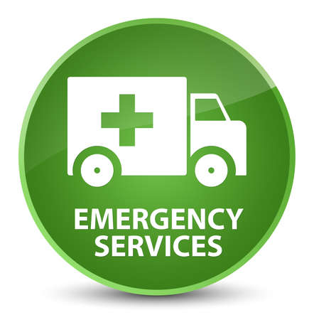 Emergency services isolated on elegant soft green round button abstract illustration 版權商用圖片