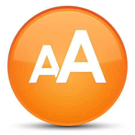 Font size icon isolated on special orange round button abstract illustration