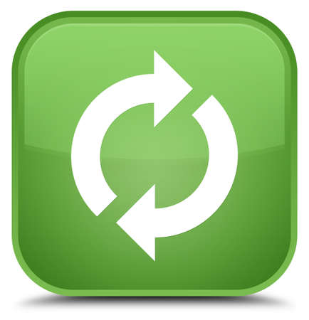 improving: Update icon isolated on special soft green square button abstract illustration Stock Photo
