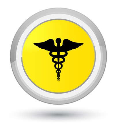 Icono médico aislado en la ilustración abstracta de botón redondo amarillo primordial