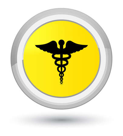 Medical icon isolated on prime yellow round button abstract illustration