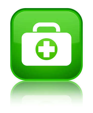 First aid kit bag icon isolated on special green square button reflected abstract illustration 版權商用圖片