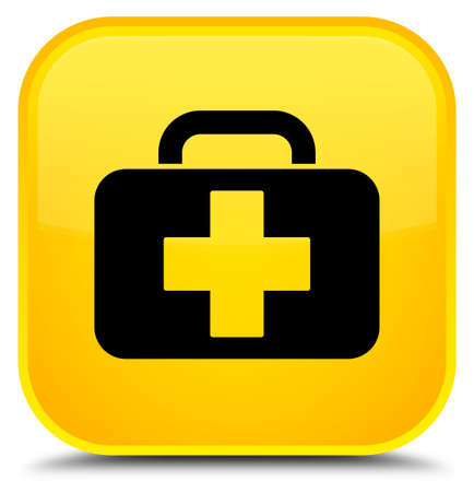 Medical bag icon isolated on special yellow square button abstract illustration