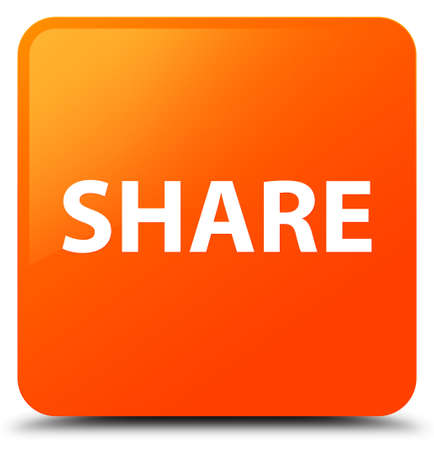 Share isolated on orange square button abstract illustration