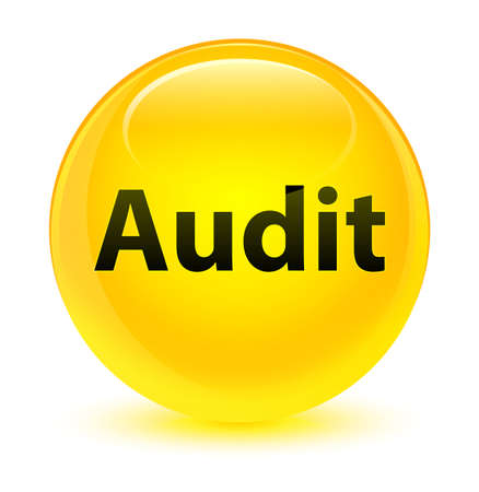 Audit isolated on glassy yellow round button abstract illustration