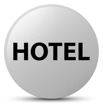 Hotel isolated on white round button abstract illustration