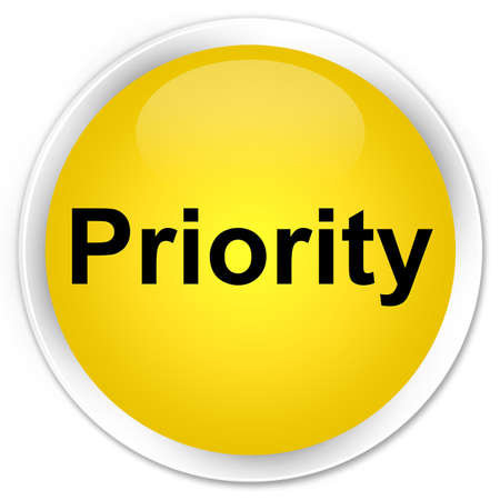 Priority isolated on premium yellow round button abstract illustration