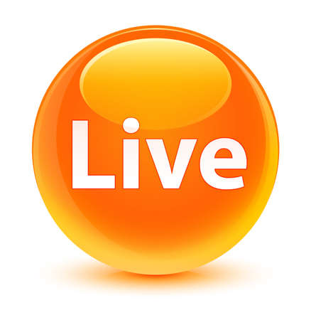 Live isolated on glassy orange round button abstract illustration