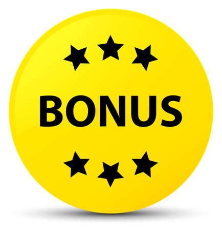 Bonus icon isolated on yellow round button abstract illustration
