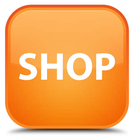 Shop isolated on special orange square button abstract illustration