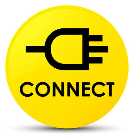 Connect isolated on yellow round button abstract illustration