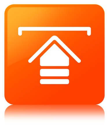 Upload icon isolated on orange square button reflected abstract illustration