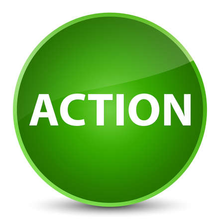 Action isolated on elegant green round button abstract illustration