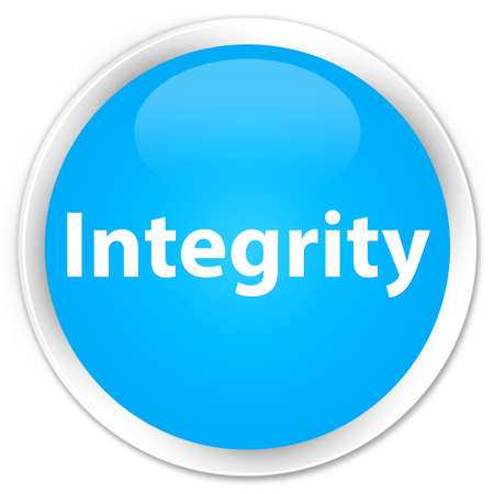 Integrity isolated on premium cyan blue round button abstract illustration