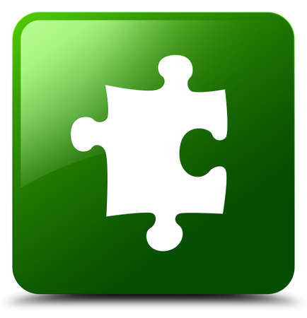 Puzzle icon isolated on green square button abstract illustration