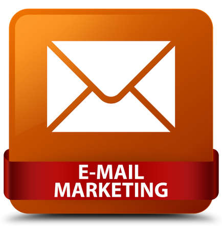 E-mail marketing isolated on brown square button with red ribbon in middle abstract illustration