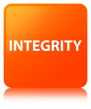Integrity isolated on orange square button reflected abstract illustration Stock Photo
