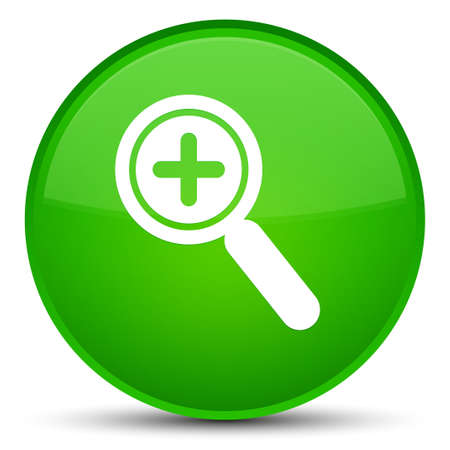 Zoom in icon isolated on special green round button abstract illustration Stock Photo
