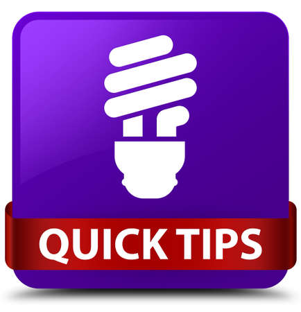 Quick tips (bulb icon) isolated on purple square button with red ribbon in middle abstract illustration