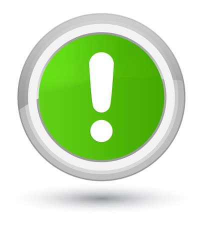 Icône de point d'exclamation isolé sur premier vert doux rond illustration abstraite de bouton
