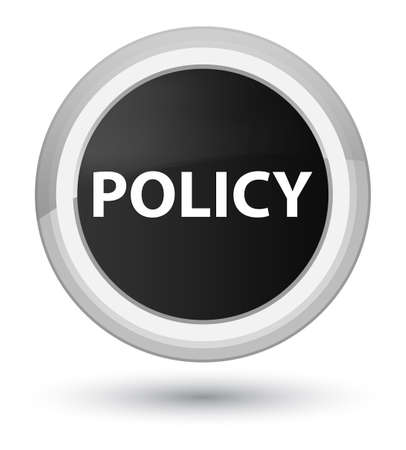 Policy isolated on prime black round button abstract illustration Banco de Imagens