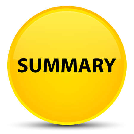Summary isolated on special yellow round button abstract illustration Stok Fotoğraf