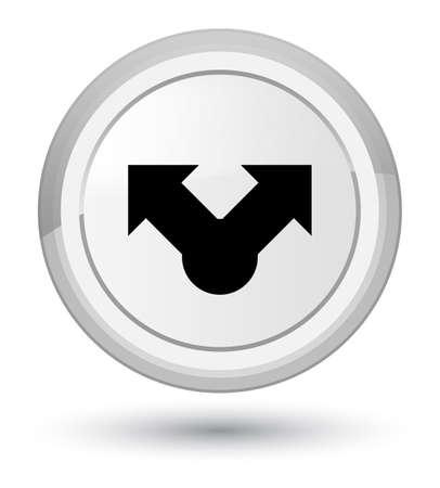 プライムの白い丸いボタンの抽象的なイラストに分離された共有アイコン 写真素材