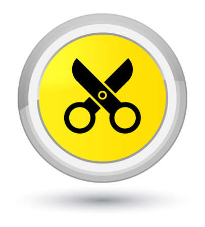 Scissors icon isolated on prime yellow round button abstract illustration