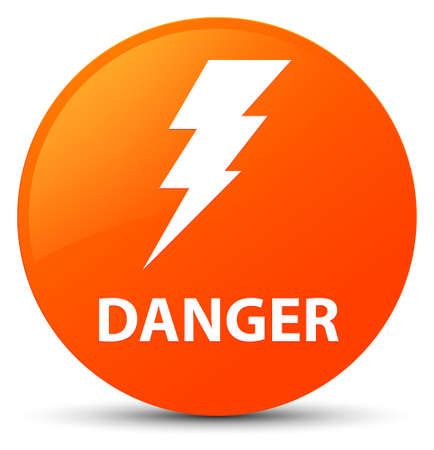 Danger (electricity icon) isolated on orange round button abstract illustration