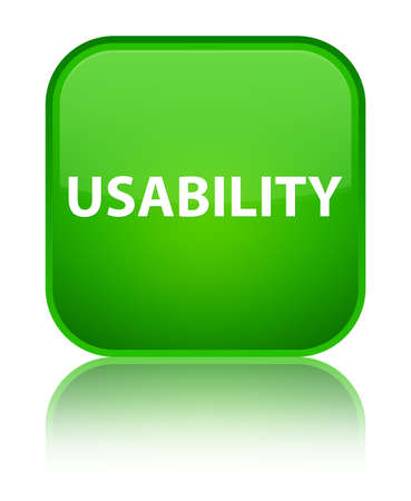 Usability isolated on special green square button reflected abstract illustration Stock Photo