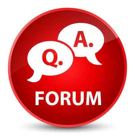 Forum (question answer bubble icon) isolated on elegant red round button abstract illustration