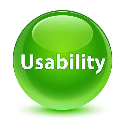 Usability isolated on glassy green round button abstract illustration Stock Photo