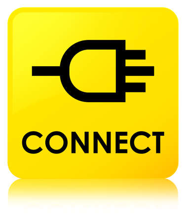 Connect isolated on yellow square button reflected abstract illustration