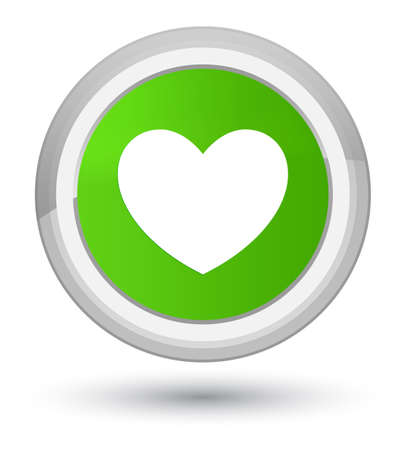 Heart icon isolated on prime soft green round button abstract illustration