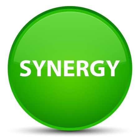 sinergia: Sinergia aislada en la ilustración abstracta del botón redondo verde especial