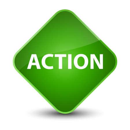 Action isolated on elegant green diamond button abstract illustration Фото со стока