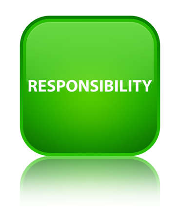 Responsibility isolated on special green square button reflected abstract illustration