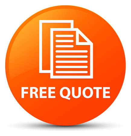 Free quote isolated on orange round button abstract illustration