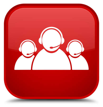 Customer care team icon isolated on special red square button abstract illustration
