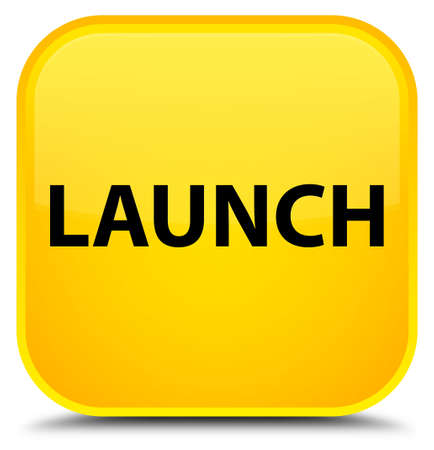 Launch isolated on special yellow square button abstract illustration