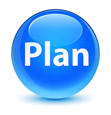 Plan isolated on glassy cyan blue round button abstract illustration Stock Photo