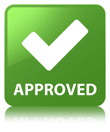 Approved (validate icon) isolated on soft green square button reflected abstract illustration Stock Photo