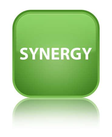 De synergisme op speciale zachte groene vierkante knoop wordt geïsoleerd wees op abstracte illustratie die Stockfoto