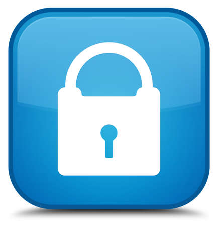 Padlock icon isolated on special cyan blue square button abstract illustration Stock Photo