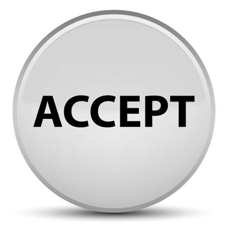 Accept isolated on special white round button abstract illustration