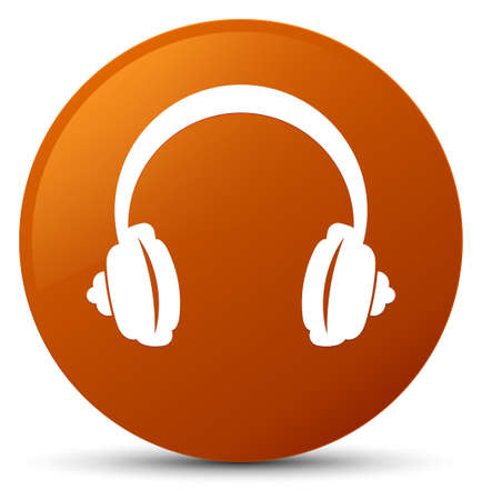 Headphone icon isolated on brown round button abstract illustration