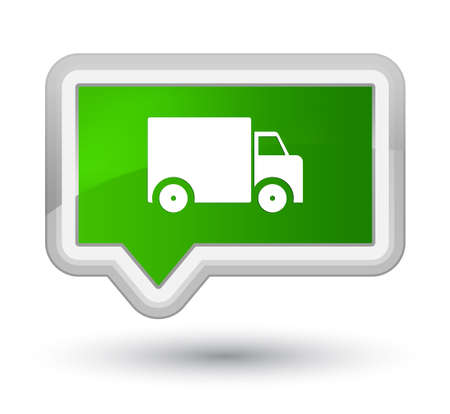 Delivery truck icon isolated on prime green banner button abstract illustration