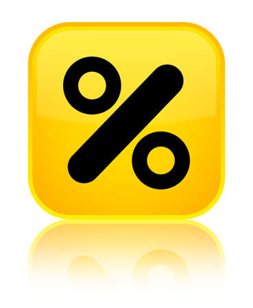Discount icon isolated on special yellow square button reflected abstract illustration