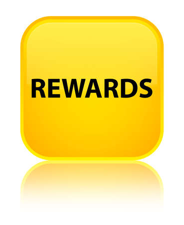 Rewards isolated on special yellow square button reflected abstract illustration